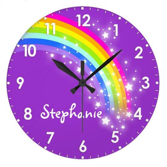 Fun Kids Girls Rainbow Name Purple Wall Clock Zazzle Ca