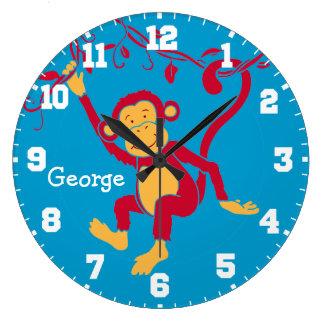 Fun kids name monkey red, blue & white wall clock