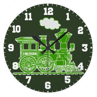 Fun kids name train green and white wall clock