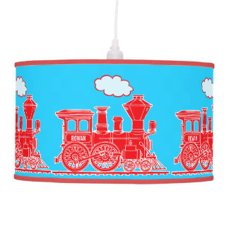 Fun kids name train red and blue lamp shade