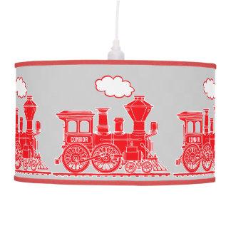 Fun kids name train red and grey lamp shade