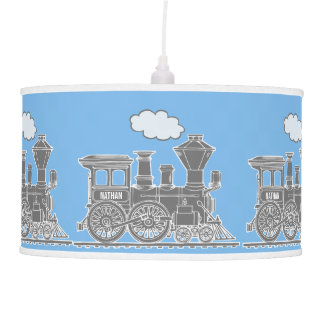 Fun kids name train sky blue and grey lamp shade