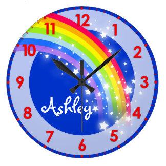 Fun kids rainbow name blue wall clock