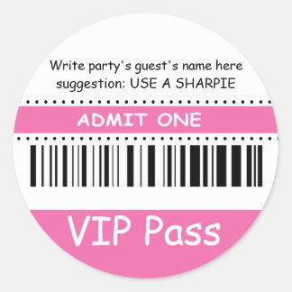 Fun Kids VIP Pass Admit One Birthday Party (pink) Classic Round Sticker