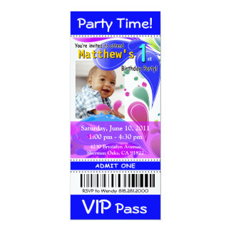 "Fun Kids VIP Pass Event Ticket Photo Party (blue) 4"" X 9.25"" Invitation Card"