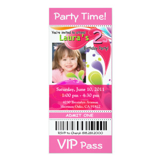 Fun Kids VIP Pass Event Ticket Photo Party (pink) Card