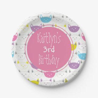 Fun Kitty Print Kids Birthday Custom Party Plates