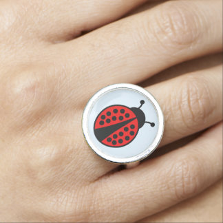 Fun ladybug fashion photo rings