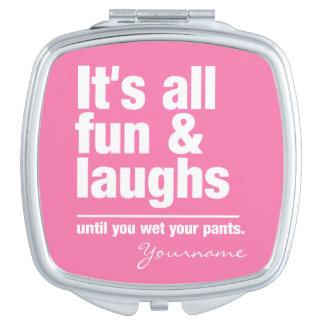 FUN & LAUGHS custom colour pocket mirror
