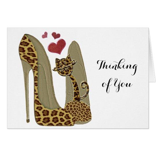 Fun Leopard Stiletto and Cat Card