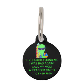 Fun LGM Alien Vacation Summer Time Bad Dog Pet Tag
