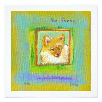 Fun little dog cute colorful Pomeranian pet art Card