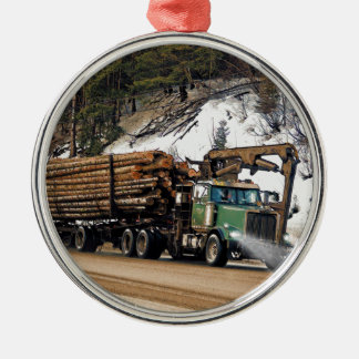 Fun Log In - Log Out Logging Trucker Art Design Metal Ornament