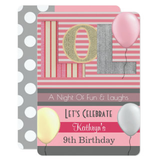 "Fun ""LOL"" Girl Slumber Party Birthday Card"