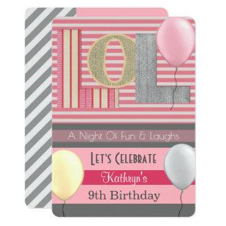 "Fun ""LOL"" Girl Slumber Party Birthday Card"