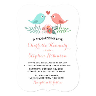 Fun Love Birds Pink and Blue Floral Wedding Card