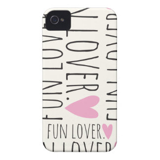 Fun Lover Print with Heart iPhone 4 Case-Mate Cases
