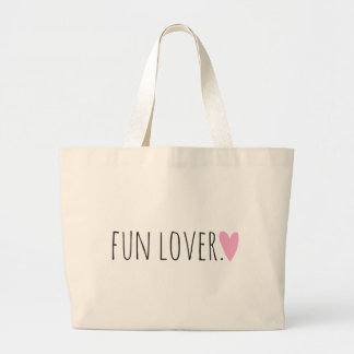 Fun Lover with Heart Large Tote Bag
