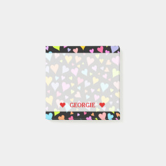 Fun, Loving, Colorful Hearts Pattern & Custom Name Post-it Notes