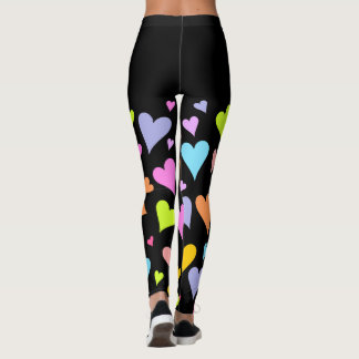 Fun, Loving, Colorful Hearts Pattern Leggings