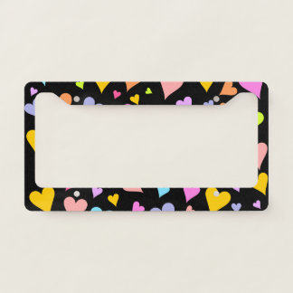 Fun, Loving, Colorful Hearts Pattern License Plate Frame