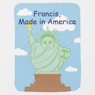 "Fun ""Made in America"" cartoon ""Statue of Liberty"", Baby Blanket"