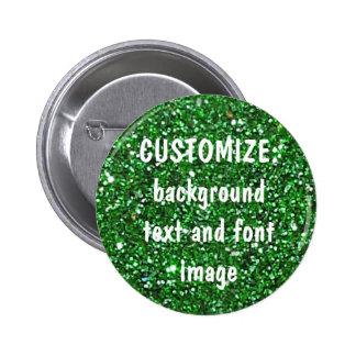 FUN! MAKE YOUR OWN GREEN GLITTER PIN! 2 INCH ROUND BUTTON