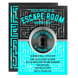 Fun Maze Escape Room Party Invitations
