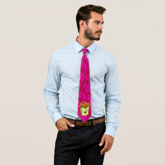 Fun men tie with cartoon French Fries purple
