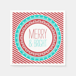 Fun Merry and Bright Holiday Napkins Paper Napkin