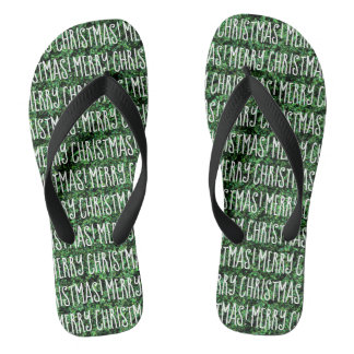 Fun MERRY CHRISTMAS Green and White Word Design Flip Flops