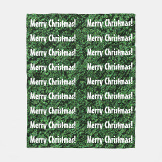 Fun MERRY CHRISTMAS Green and White Word Pattern Fleece Blanket