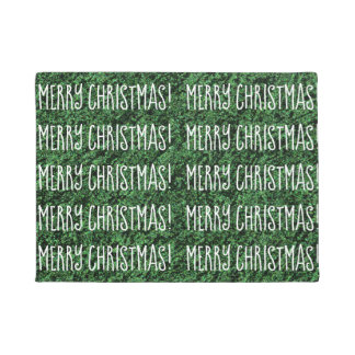 Fun MERRY CHRISTMAS Word Pattern Design Green Doormat