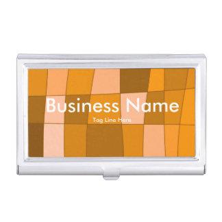 Fun Mirror Checks in Orange Business Card Holder