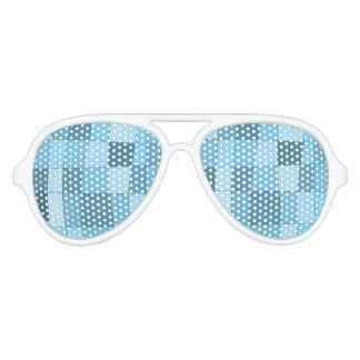 Fun Mirror Checks in Sky Blue Aviator Sunglasses