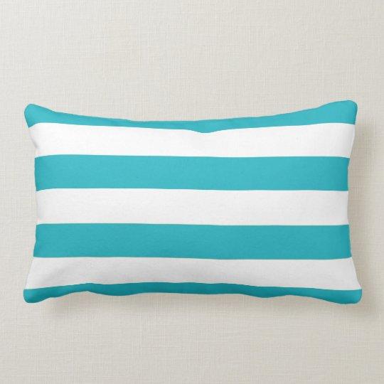 Fun Modern Aqua Blue and White Stripe Pattern Lumbar Pillow