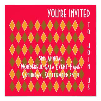 "Fun Modern Art Diamond Pattern Fundraiser or Party 5.25"" Square Invitation Card"