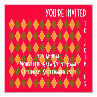 Fun Modern Art Diamond Pattern Fundraiser or Party Invites