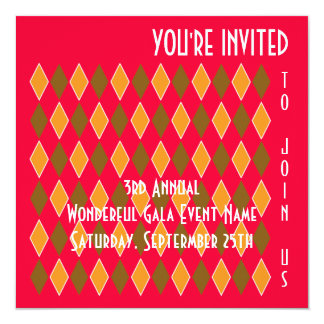 Fun Modern Art Diamond Pattern Fundraiser or Party 5.25x5.25 Square Paper Invitation Card