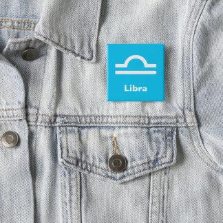 Fun Modern Astrology Libra Star Sign on Aqua Blue 2 Inch Square Button