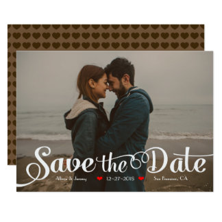 Fun Modern Calligraphy Sepia Photo Save the Date Card