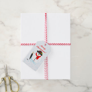 Fun modern cartoon elegant Christmas Snowman, Gift Tags