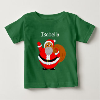 Fun modern cartoon of a jolly Black Santa Claus, Baby T-Shirt