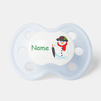 Fun modern cartoon of elegant Christmas Snowman, Pacifier