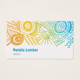 Fun Modern Colorful Doodle Profile Template Business Card