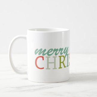 Fun Modern colors typography Merry Christmas Coffee Mug