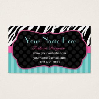 Fun, Modern, Colourful Zebra.  Blue, Pink & Black Business Card