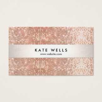Fun Modern Faux Rose Gold Sequin Business Card