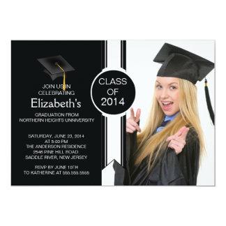 "Fun Modern Graduate Photo Graduation Party 5"" X 7"" Invitation Card"