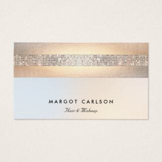 Fun  Modern Silver Sequin Gold Beauty Salon Business Card